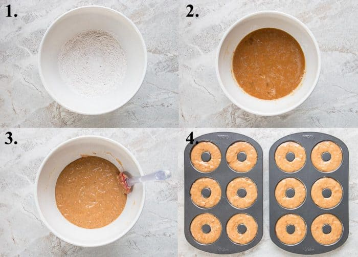 a picture collage of how to make baked sweet potato donuts