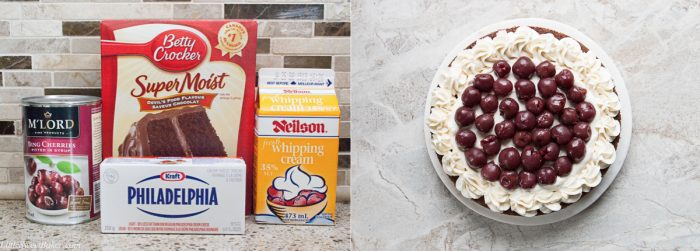 Ingredients to make easy black forest cake.