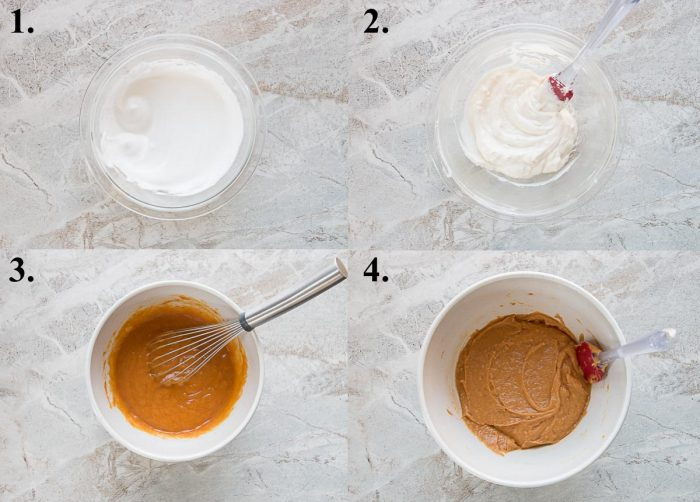 Picture collage of steps 1-4 of how to make pumpkin cream cheese muffins.