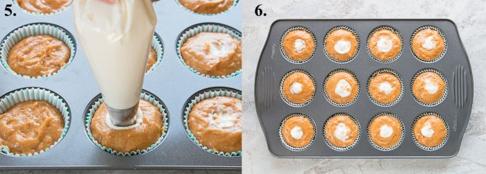 images of pumpkin muffins being filled with cream cheese and ready to bake