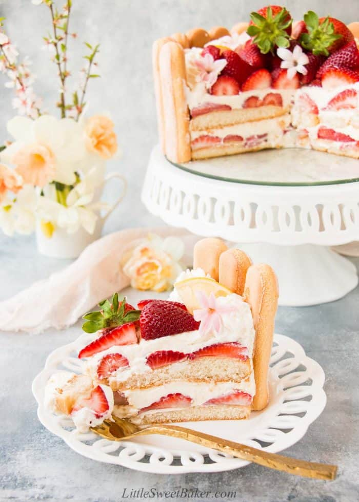 A slice of strawberry charlotte cake on a white laced rimmed plate.