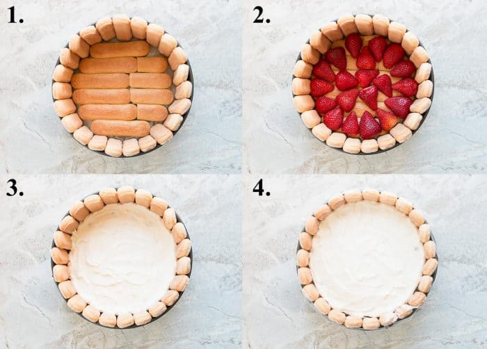 Pictures of how to layer a strawberry charlotte cake.