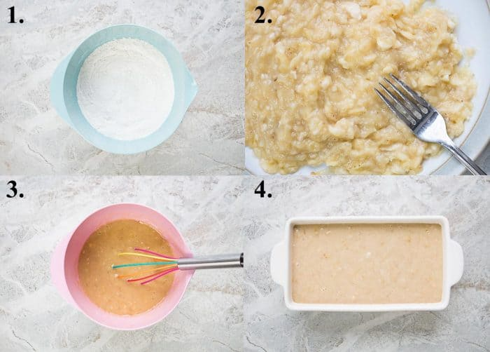 Process pictures of how to make banana bread with oil.