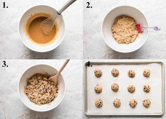 Process shots of how to make chewy chocolate chip cookies