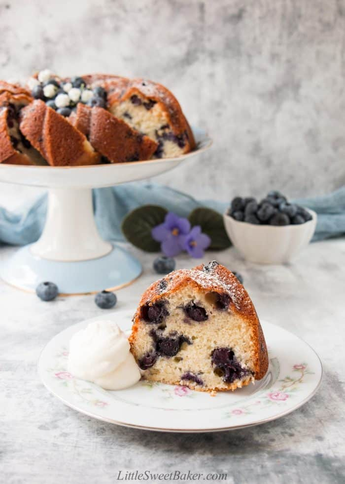 A slice of blueberry cake on a white floral plate with a dollop of whipped cream.