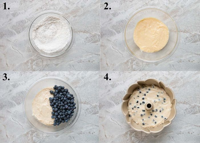 picture collage of how to make blueberry cake