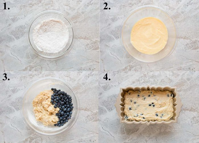 picture collage of how to make lemon blueberry pound cake