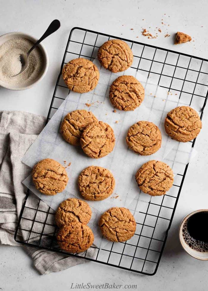 Healthy peanut butter cookies on a cooling rack.