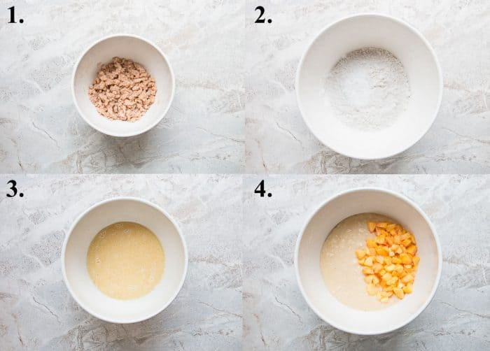 process shots of how to make peach crumb muffins