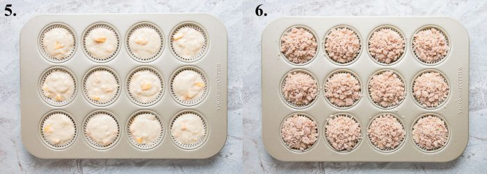 Peach muffin batter in a muffin pan then with crumb topping.