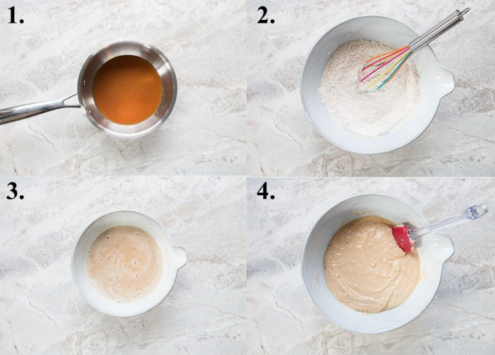Process pictures of how to make apple cider donut batter