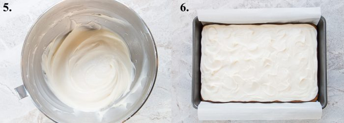 Cream cheese frosting in mixer bowl and on pumpkin cake.