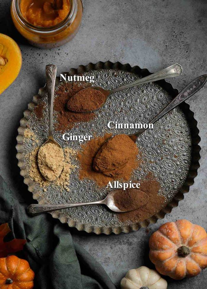 A vintage tart pan with spoons of nutmeg, cinnamon, ginger, and allspice to show all the ingredients in pumpkin pie spice.